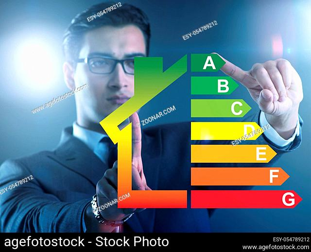 The businessman in energy efficiency concept