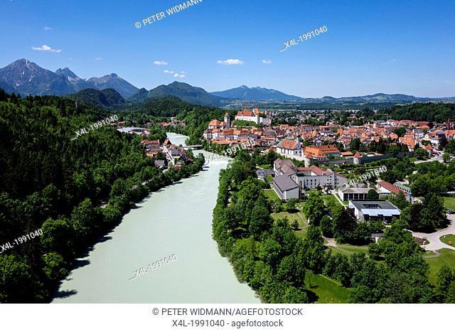 Fuessen at the Lech, city view, Castle, baroque church St Mang, Allgaeu, Bavaria, Germany