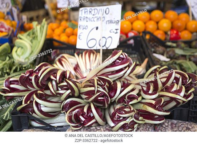 Venice Veneto Italy on January 19, 2019: View of Rialto market. Greengrocers stall