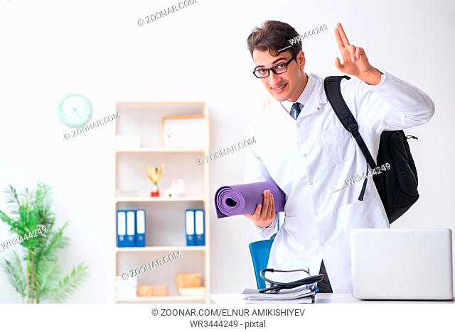 Doctor going to gym during lunch break