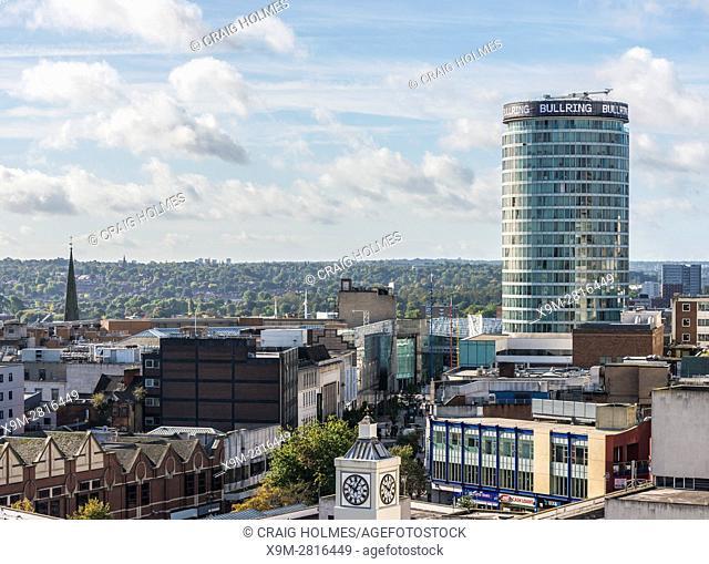 Aerial photograph of Birmingham City Centre, England