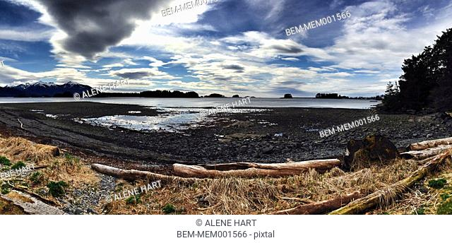 Panoramic view of rocky beach on remote lake, Sitka, Alaska, United States
