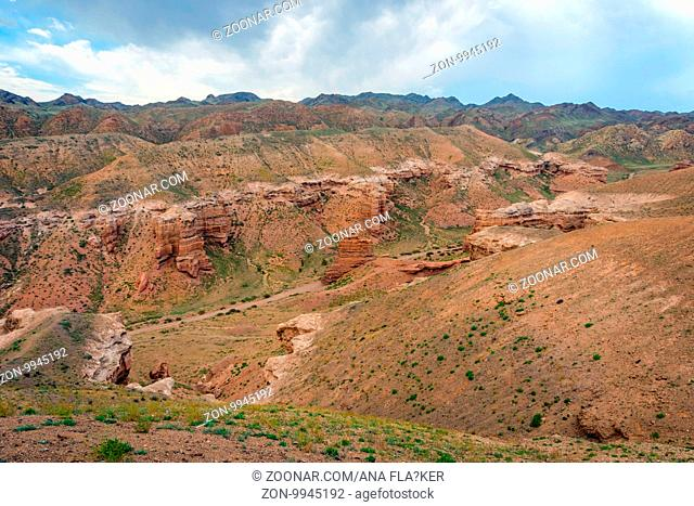 View over Sharyn or Charyn Canyon, Kazakhstan, second biggest canyon in the world