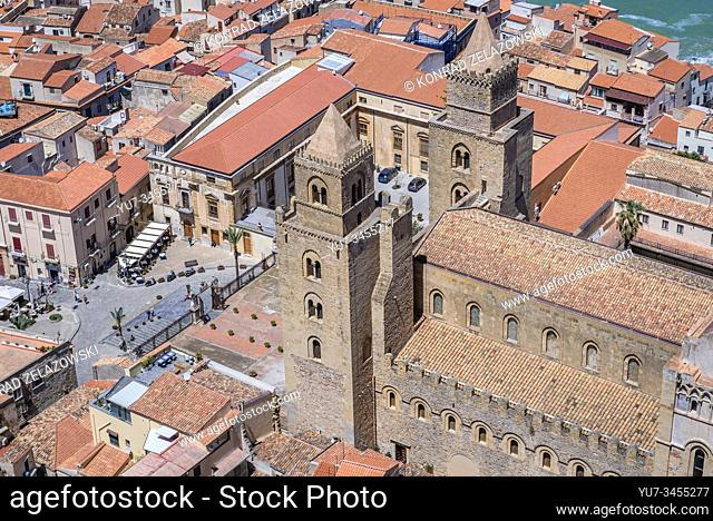 Cathedral on the Old Town of Cefalu city loctaed on the Tyrrhenian coast on Sicily Island, Italy - view from Rocca di Cefalu massif