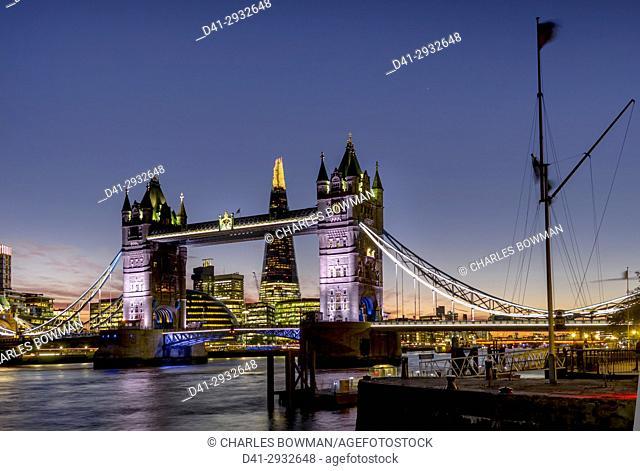 UK, England, London, Shard with Tower Bridge sunset