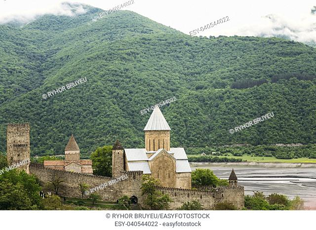Church In Castle Complex Ananuri In Georgia, About 72 Kilometres From Tbilisi. Famous Landmark. Cultural Historic Heritage. Popular Place