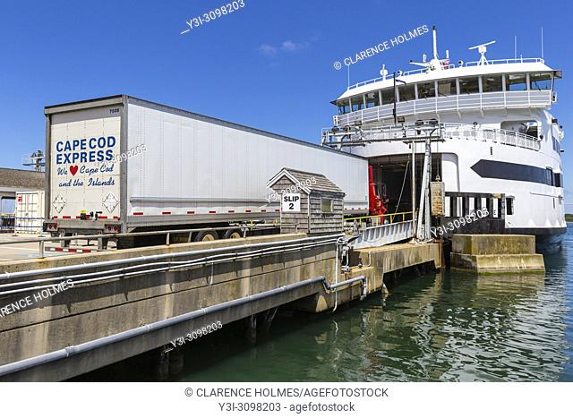 Vehicles and passengers are loaded aboard a Steamship Authority ferry in Vineyard Haven on Martha's Vineyard