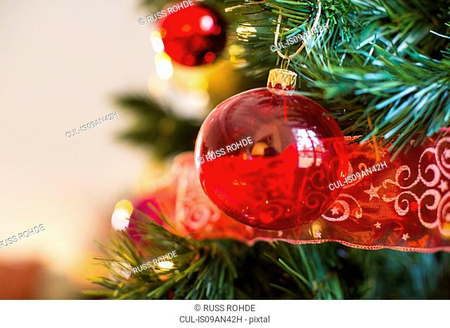 Close up of christmas tree with red baubles
