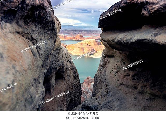 View of Lake Powell between rock formations, Alstrom Point, Utah, USA