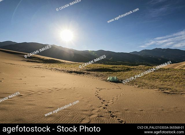 Shelter with sunset behind the Sangre de Cristo mountains