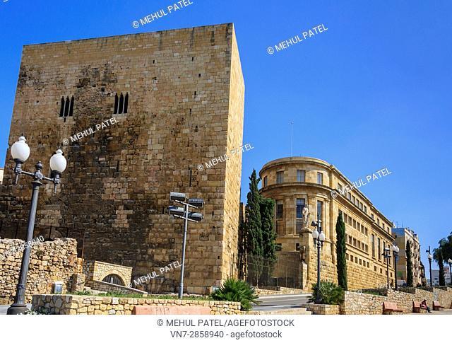 The Pretori Roma tower and the National Archaeological Museum of Tarragona, Catalonia, Spain, Europe