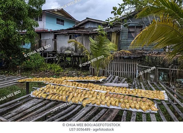 Drying prawn cracker (Keropok in Malay word) at Kampung Pusa, Sarawak, Malaysia