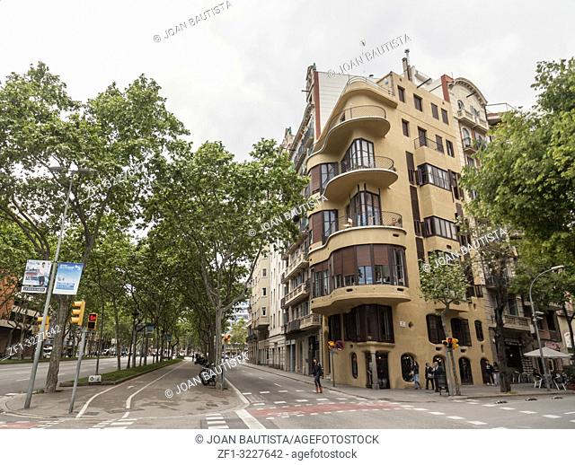 Modernist style building, house, Casa Planells by Josep Maria Jujol in Eixample quarter of Barcelona
