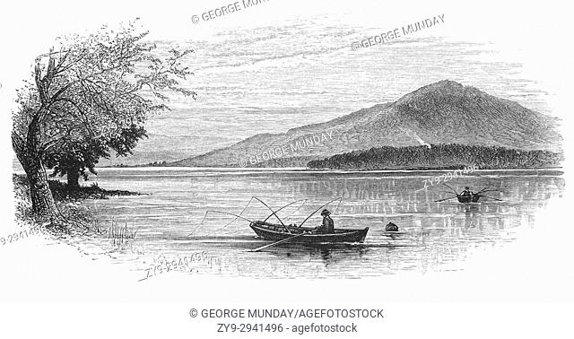 1870: Anglers on Lake Windermere in the Lake District from Newby Bridge, Cumbria, England