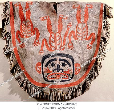 Neck robe painted to represent a headless spirit. With a fringed edge and ornamented with split coloured porcupine quills