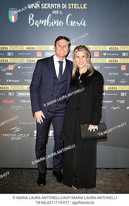Vice President of Inter Javier Zanetti with wife Paula Zanetti during the charity show ' Una serata di stelle' for the Hospital Bambino Gesu', Paul VI Hall