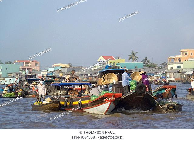 Vietnam, Asia, people, boats, local, trading, buying, selling, Cai Rang, floating market, Bassac river, Mekong delta