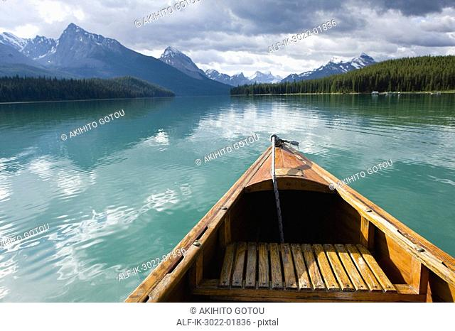 Empty Boat Near the Merlene Lake in Canada