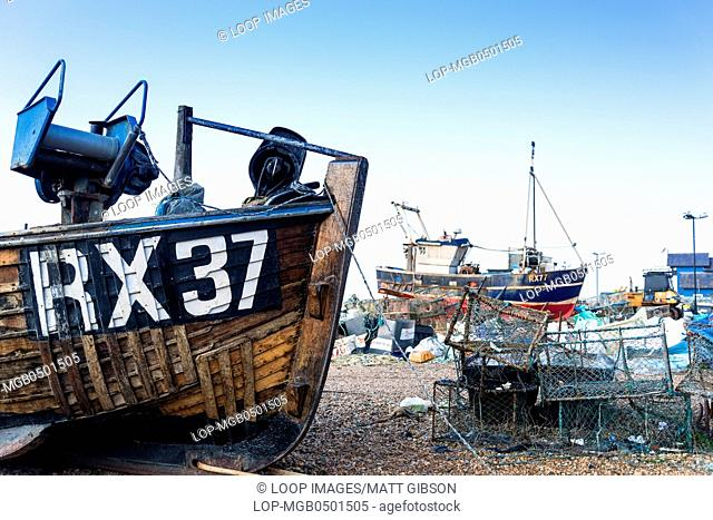 Fishing boats and equipment on Hastings beach