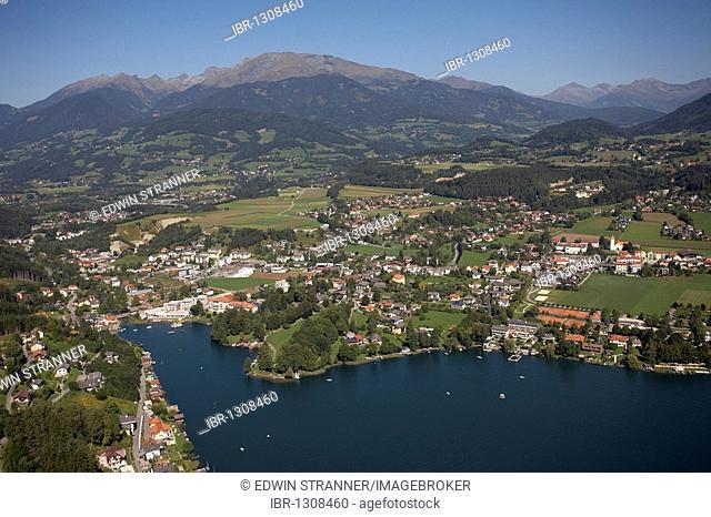 Seeboden, Lake Millstatt, aerial photo, Carinthia, Austria, Europe