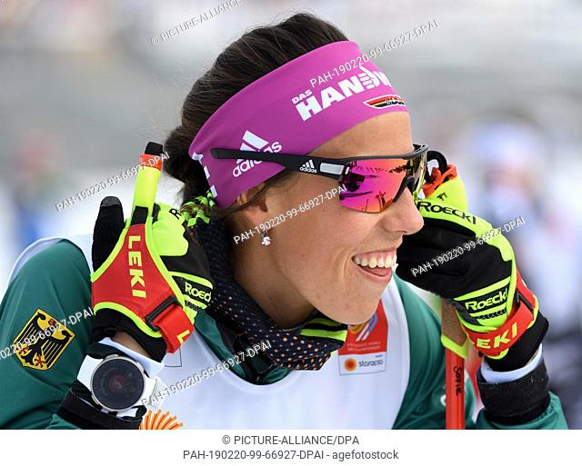 20 February 2019, Austria, Seefeld: Cross-country skiing, world championship, training. Sophie Krehl, cross-country skier from the German team