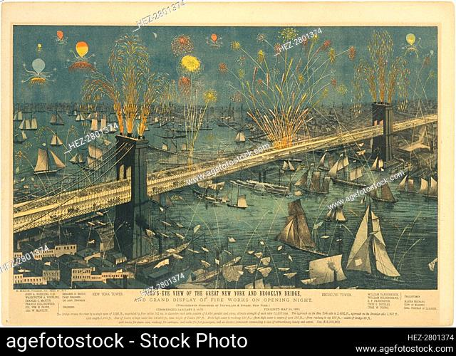 Bird's-Eye View of the Great New York and Brooklyn Bridge, and Grand Display of Fireworks .., 1883. Creator: Unknown