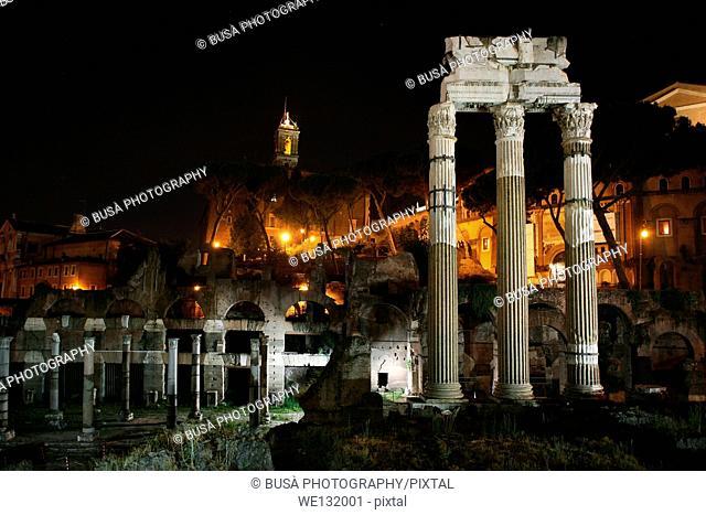 The ancient Roman Forum at night