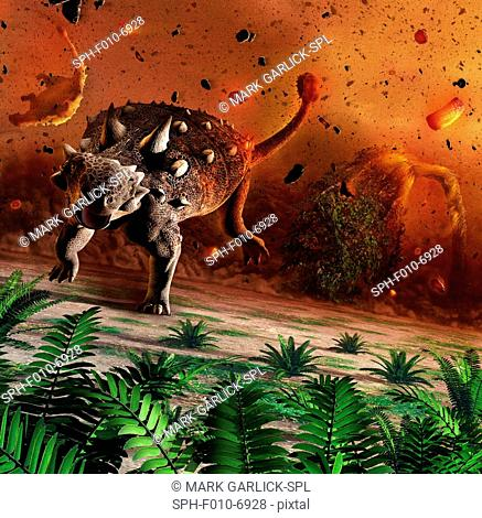 Artwork showing dinosaurs caught in the aftermath of an asteroid impact. The dinosaurs were wiped out 65 million years ago