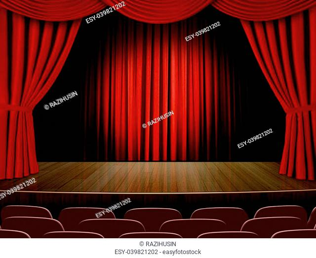 Empty stage with red curtain