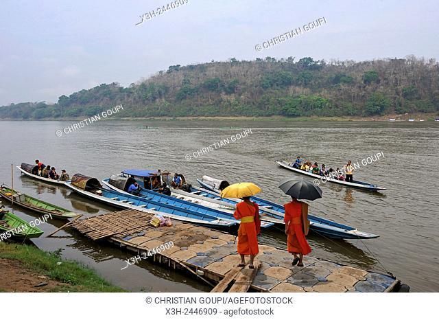 boat pier on Mekong River, Luang Prabang, Laos, Southeast Asia