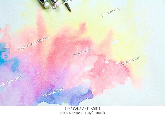 Abstract water colorful painting. Pastel color on canvas