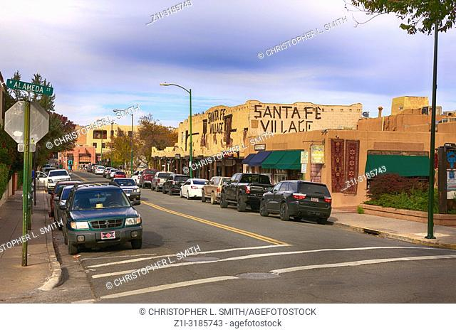 The Santa Fe Village district in downtown Santa Fe, New Mexico USA