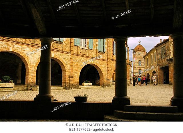 Pilgrimage way to Santiago de Compostela: Tour de l'Horloge from the 'Halle aux grains', at Auvillar, Tarn-et-Garonne, Midi-Pyrenees, France