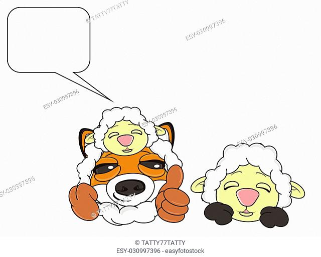 muzzle of fox and sheep with clean callout
