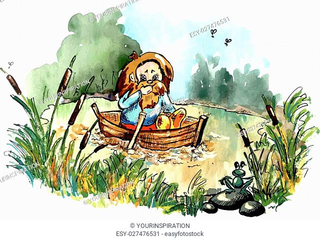 Folklore creature on the boat. Bright cartoon style illustration for your fairy tail about dwarf, goblin, hobbit, troll. Imaginary bizarre creature