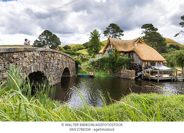 New Zealand, North Island, Matamata, Hobbiton Movie Set, Hobbit bridge