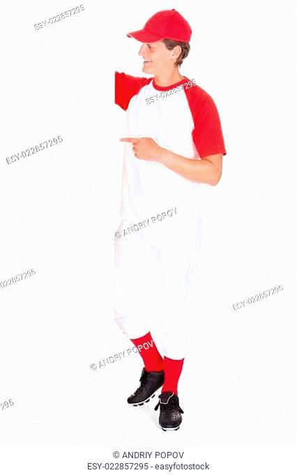 Baseball Player Holding Blank Placard