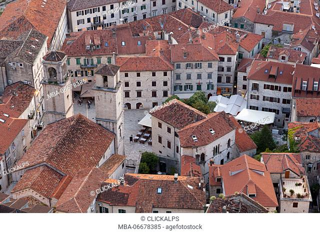The roofs of Kotor and the bell towers of the Cathedral of Saint Tryphon, view from the fortress, Montenegro