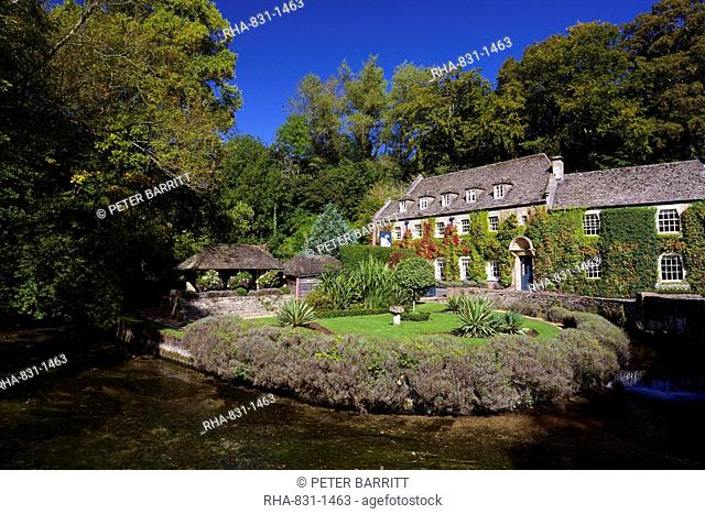 River Coln and Swan Hotel, Bibury, Cotswolds, Gloucestershire, England, United Kingdom, Europe