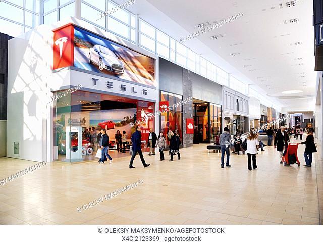 Tesla Motors retail store at Yorkdale Shopping Centre, Toronto, Ontario, Canada 2014