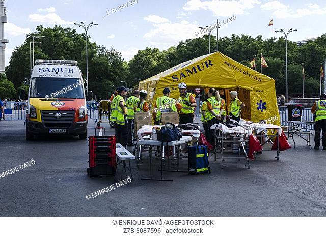 Madrid, Spain, 7 th July 2018. Gay pride parade with participants and emergency service in Cibeles square, 7 th July 2018, Madrid