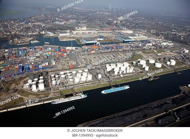 Duisport, port and logistics center, Ruhrort inland port on the Rhine river, largest inland port in the world, DeCeTe container terminal