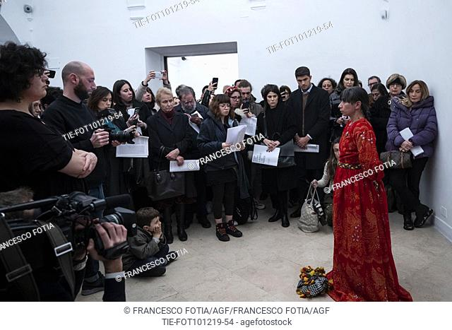 Moment of performance titled Lavarse las manos by Regina Jose Galindo in Rome, ITALY-10-12-2019