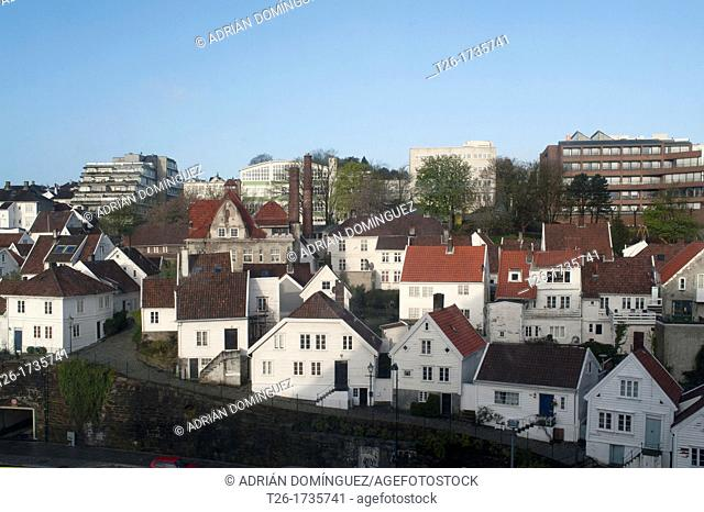 View of the houses from the port of Stavanger city, Norway