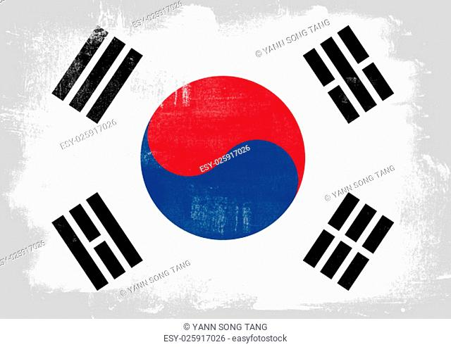 Flag of South Korea painted with brush on solid background