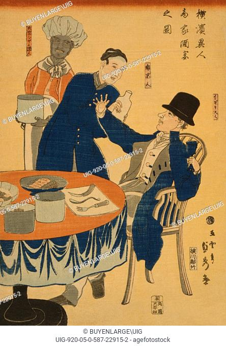 Japanese print shows an English merchant seated at a table and being waited on by a Chinese man and a Thai cook during a banquet at a mercantile house in...