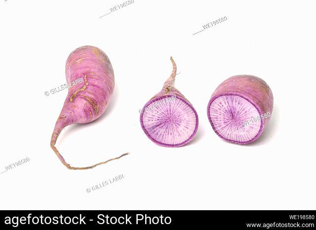 Purple radish on a white background