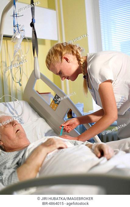 Nurse takes care of a patient in a hospital bed, Czech Republic