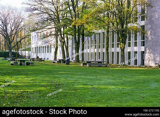 Tilburg, Netherlands. During the second phase of the Corona Crisis, Campus of Tilburg University was nearly abandoned