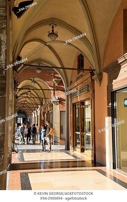Portico on Piazza Maggiore - Main Square; Bologna; Italy